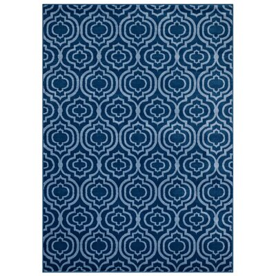 OHare Frame Transitional Trellis Moroccan Blue/Light Blue Area Rug Rug Size: 8 x 10