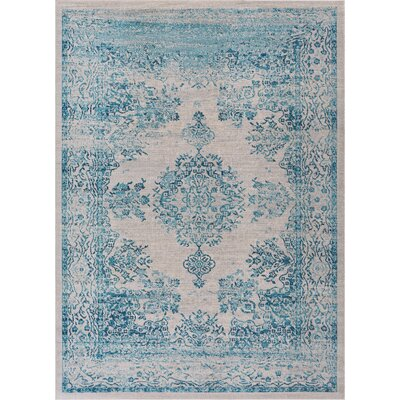 Cortright Blue/Beige Area Rug Rug Size: Rectangle 53 x 73