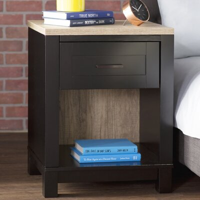Callowhill 1 Drawer Nightstand Color: Black