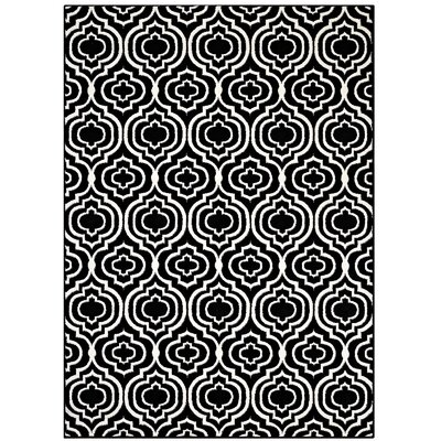 Nystrom Frame Transitional Moroccan Trellis Black/White Area Rug Rug Size: 8 x 10