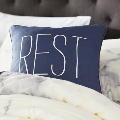 Carnell Text Cotton Throw Pillow Color: Navy/ White