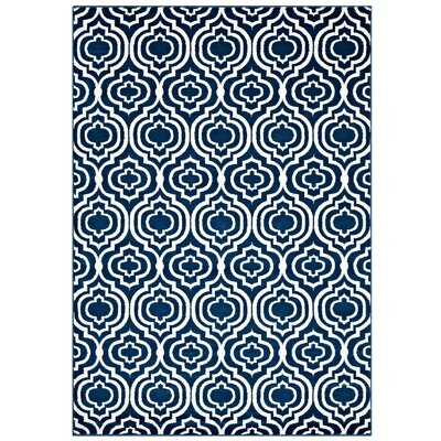 Oak Brook Frame Transitional Trellis Moroccan Blue/Ivory Area Rug Rug Size: 5 x 8