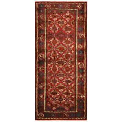 One-of-a-Kind Ebron Hand-Knotted Wool Red/Ivory Area Rug
