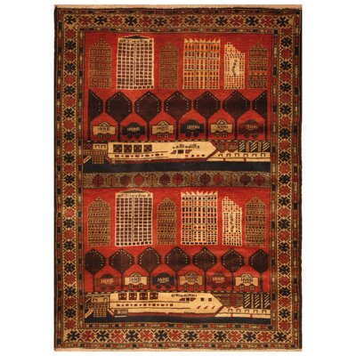 One-of-a-Kind Ebron Hand-Knotted Wool Red/Beige Area Rug