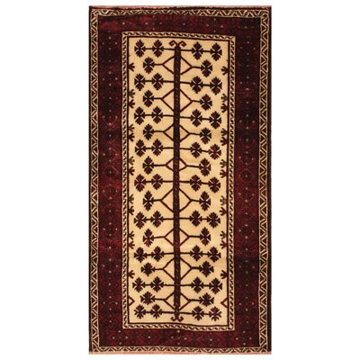 One-of-a-Kind Ebron Hand-Knotted Wool Ivory/Red Area Rug