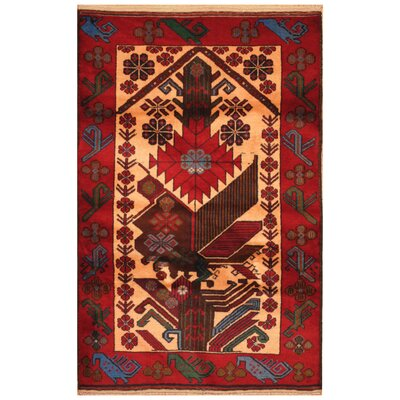 One-of-a-Kind Ebron Hand-Knotted Wool Beige/Red Area Rug