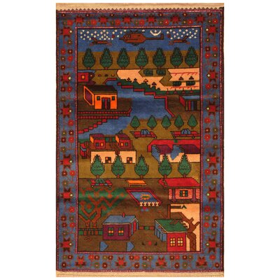 One-of-a-Kind Ebron Hand-Knotted Wool Blue/Red Area Rug