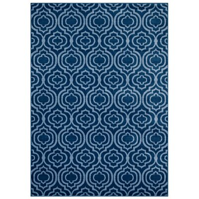 OHare Frame Transitional Trellis Moroccan Blue/Light Blue Area Rug Rug Size: 5 x 8