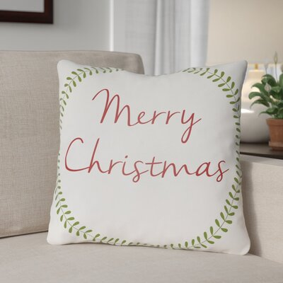 Merry Christmas Outdoor Throw Pillow Size: 18 H x 18 W x 4 D, Color: White