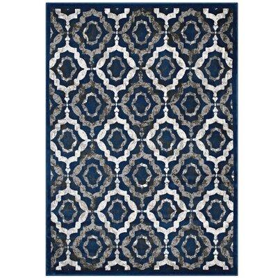 Nolasco Trellis Moroccan Blue/Gray Area Rug Rug Size: 5 x 8