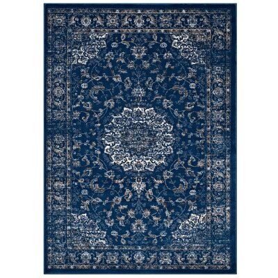Orlowski Distressed Vintage Persian Medallion Moroccan Blue/Beige/Ivory Area Rug Rug Size: 8 x 10