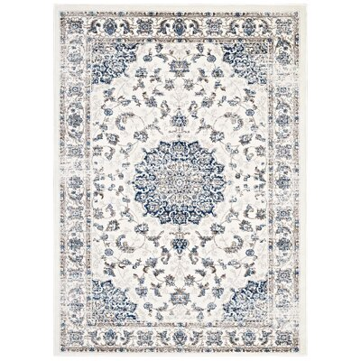 Orlowski Distressed Vintage Persian Ivory/Moroccan Blue Area Rug Rug Size: 8 x 10