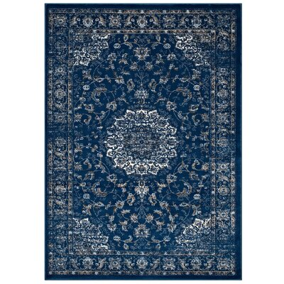 Orlowski Distressed Vintage Persian Medallion Moroccan Blue/Beige/Ivory Area Rug Rug Size: 5 x 8