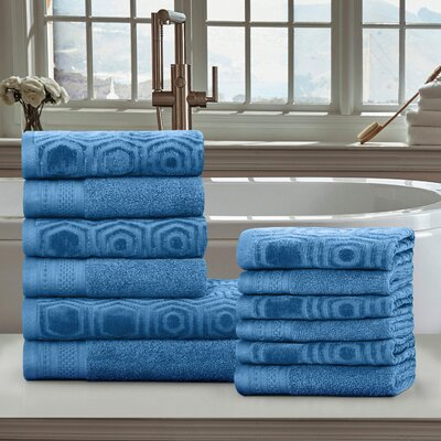 Honeycomb 12 Piece Towel Set Color: Azure