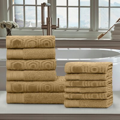 Honeycomb 12 Piece Towel Set Color: Sahara