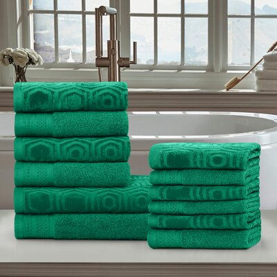 Honeycomb 12 Piece Towel Set Color: Gumdrop Green