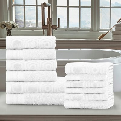 Honeycomb 12 Piece Towel Set Color: White