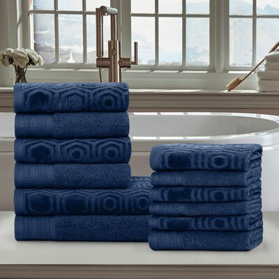 Honeycomb 12 Piece Towel Set Color: Navy Peony