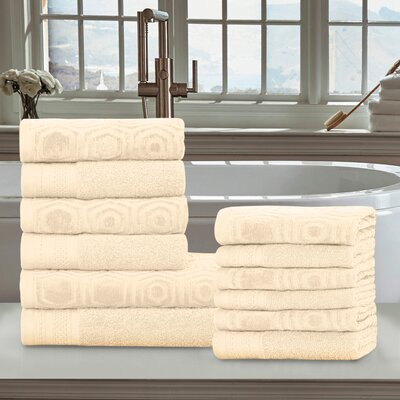Honeycomb 12 Piece Towel Set Color: Ivory
