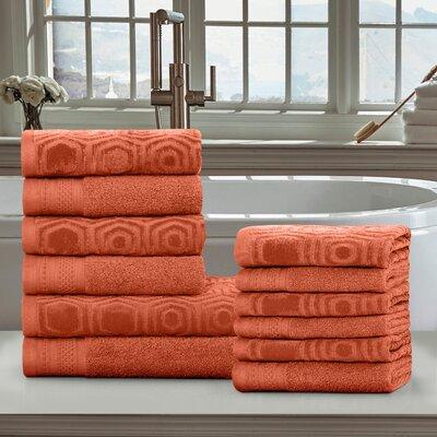 Honeycomb 12 Piece Towel Set Color: Chestnut