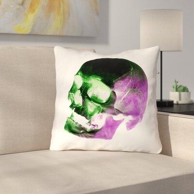 Waterproof Skull Throw Pillow Color: Green/Purple/Black/White, Size: 16