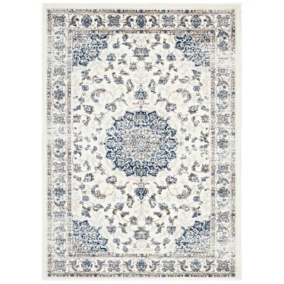 Orlowski Distressed Vintage Persian Ivory/Moroccan Blue Area Rug Rug Size: 5 x 8