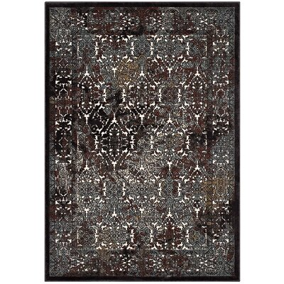 Prewitt Ornate Turkish Vintage Dark Brown/Silver Blue Area Rug Rug Size: 5 x 8