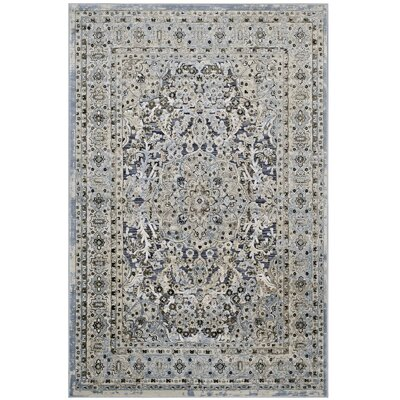 Prevost Ornate Vintage Floral Turkish Blue/Cream Area Rug Rug Size: 8 x 10