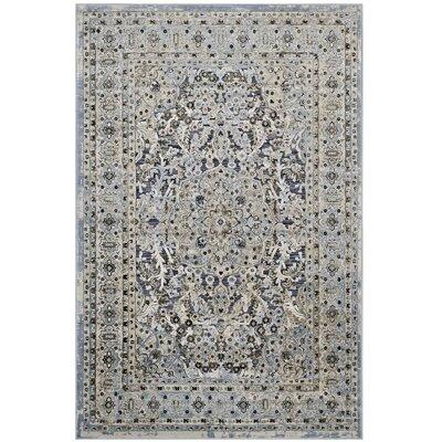 Prevost Ornate Vintage Floral Turkish Blue/Cream Area Rug Rug Size: 5 x 8