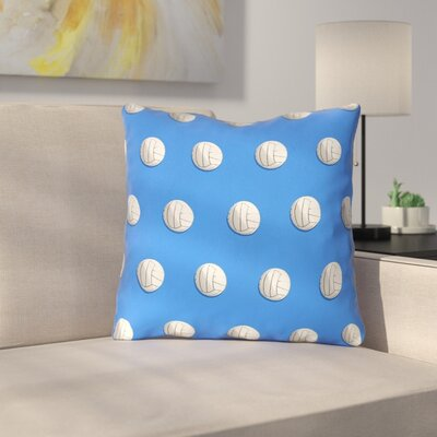 White Volleyball Throw Pillow Size: 18 x 18, Color: Blue