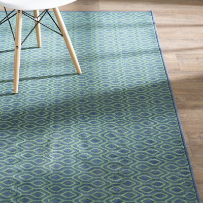Kailani Trellis Navy/Green Indoor/Outdoor Area Rug Rug Size: Rectangle 710 x 1010