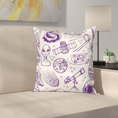 Sketch Alien Planet Art Square Pillow Cover Size: 16 x 16