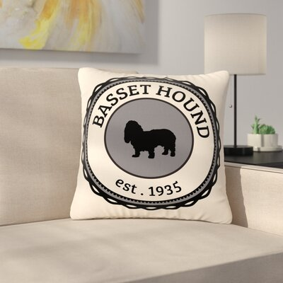 Basset Hound Dog Typography Outdoor Throw Pillow Size: 16 H x 16 W x 5 D