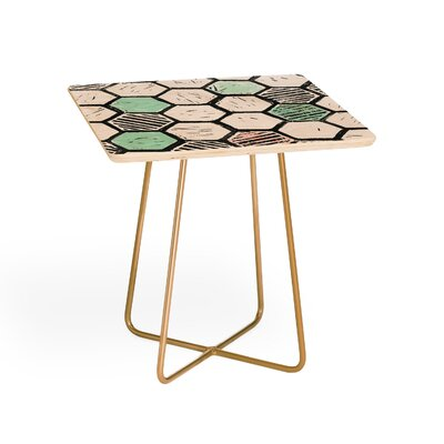 Dash and Ash Honeycomb Block Print End Table