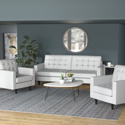 Warren 3 Piece Living Room Set Upholstery: White