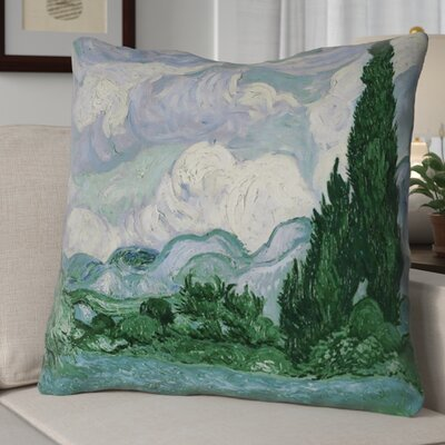 Meredosia Wheat Field with Cypresses 100% Cotton Euro Pillow Color: Blue/Green