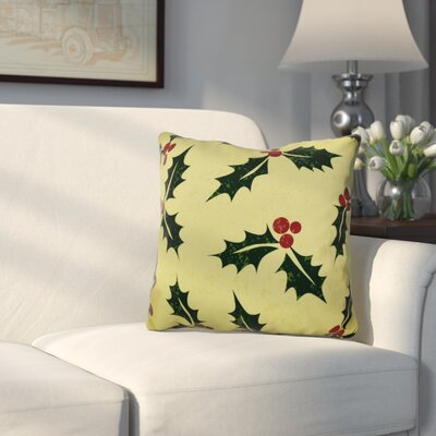 Allover Holly Throw Pillow Size: 16 H x 16 W, Color: Green