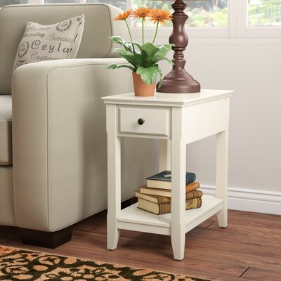 Hillyard End Table With Storage Color: White