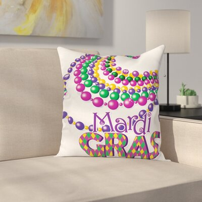 Mardi Gras Party Beads Patterns Square Cushion Pillow Cover Size: 18 x 18