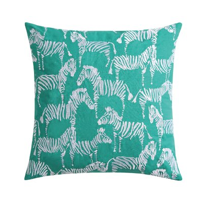 Tropicalia Square Zebra Throw Pillow Color: Green