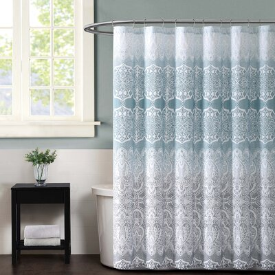 Ombre Lace Shower Curtain Color: Blue