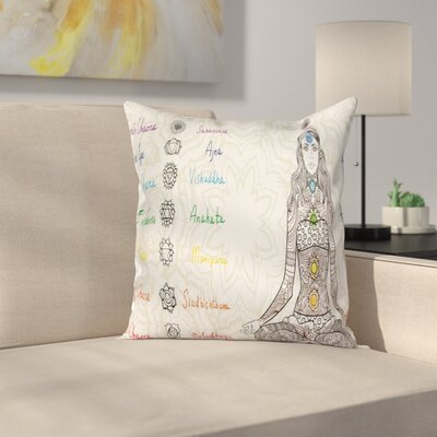 Zen Sketch Yoga Posed Girl Square Pillow Cover Size: 20 x 20
