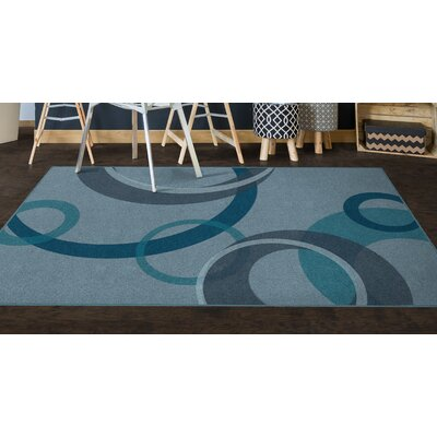 Jakarta Contemporary Geometric Teal Area Rug Rug Size: Rectangle 5 x 8