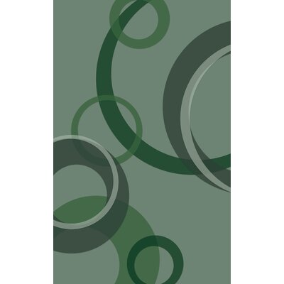 Jakarta Contemporary Geometric Green Area Rug Rug Size: Rectangle 76 x 10