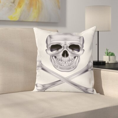Vivid Skull Crossbones Square Cushion Pillow Cover Size: 24 x 24