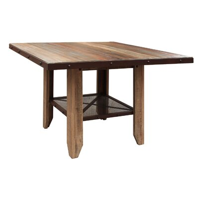 Stoke Bishop Wood Counter Height Dining Table with Iron Shelf