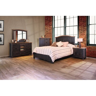 Pueblo Panel Footboard with Rail Size: Queen, Color: Black
