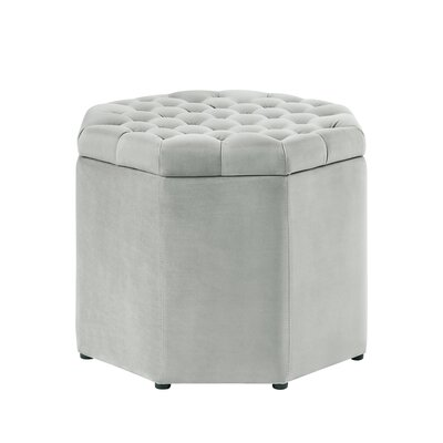 Protagoras Storage Ottoman Upholstery: Light Gray Velvet, Size: Medium