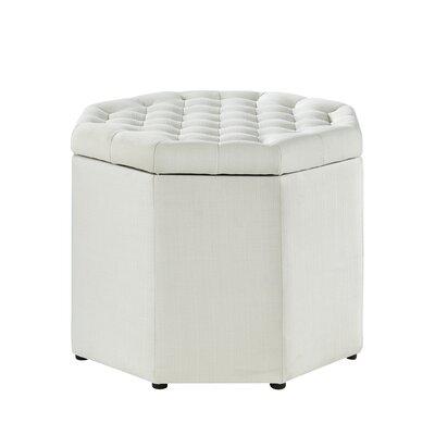 Protagoras Upholstered Ottoman Upholstery: Cream/White Linen