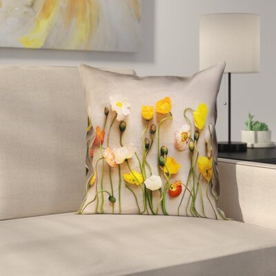 Tuyen Dried Flowers Double Sided Print Square 100% Cotton Pillow Cover Size: 14 x 14